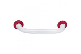 Maniglione diritto, 500 mm, Tubo Ø 30 mm, Alluminio Epossidico, Bianco e Rosso