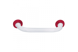 Maniglione diritto, 600 mm, Tubo Ø 30 mm, Alluminio Epossidico, Bianco e Rosso