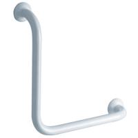 90° angled grab bar, 400 x 400 mm, White Epoxy-coated Aluminium , tube Ø 30 mm