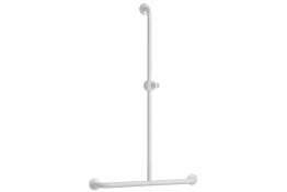 T-shaped shower bar, 600 x 1000 mm, White Epoxy-coated Aluminium , tube Ø 30 mm