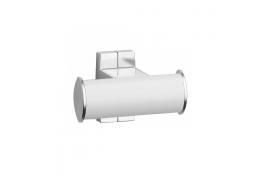 Kleerhaak 2 kopen, Wit Epoxy Aluminium, Mat verchroomd bevestigingsrozetten, tube 38 x 25 mm