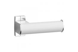 Toilet roll holder, White epoxy-coated Aluminium, mat chrome-plated flanges, tube 38 x 25 mm