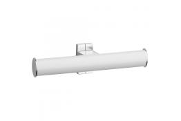 Toiletpapierhouder, Wit Epoxy Aluminium, Mat verchroomd bevestigingsrozetten, tube 38 x 25 mm