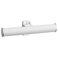 Toilet roll holder, 265 x 69 x 67,5 mm, White epoxy-coated Aluminium, mat chrome-plated flanges, tube 38 x 25 mm