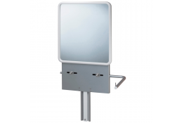 Adjustable washbasin support with mirror, 980 x 500 mm, Grey epoxy-coated aluminium and white thermoformed ABS mirror for washba