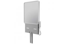 Supporto per lavabo regolabile, elettrico, con specchio, 950 x 500 mm, Alluminio Epossidico, Metallizzato