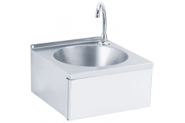 Wash-hand basin with round sink, 170 x 340 x 340 mm, Bright polished Stainless steel, tube Ø 275 mm