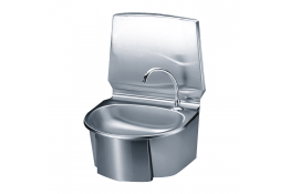 Wash-hand basin with oval sink, 580 x 430 x 370 mm, Bright polished Stainless steel, tube Ø 275 mm