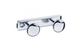 Double robe hook, 182 x 68 mm, Bright polished Stainless steel, Ø 50 mm