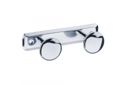 Double robe hook, 182 x 68 mm, Chrome-plated Steel, Ø 50 mm