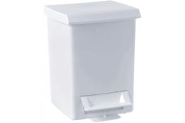 Pedaalemmer 6 liter, 280 x 210 x 210 mm, Kunststof, Wit