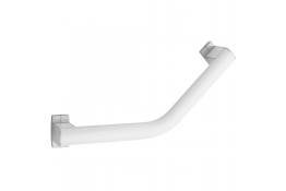 ARSIS® 135° angled grab bar, 424 x 224 mm, White Epoxy-coated Aluminium, mat chrome-plated flanges, tube 38 x 25 mm