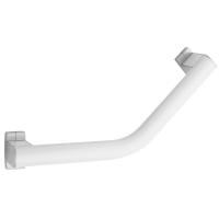 Barre coudée 135° Arsis®, 200 x 200 mm, Aluminium Epoxy Blanc 38 x 25 mm, cache-fixations Chromé mat