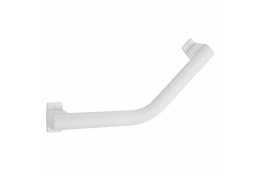 ARSIS® 135° angled grab bar, 424 x 224 mm, White Epoxy-coated Aluminium, tube 38 x 25 mm