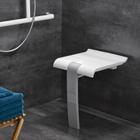 ARSIS® shower seat, 442 x 450 x 500 mm, White ABS seat, Grey epoxy-coated base, Ø 25 mm