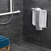 Siège de douche Arsis®, 442 x 450 x 500 mm, Assise ABS Blanc & Pieds Aluminium Epoxy Gris, Ø 25 mm