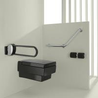 ARSIS® hinged bar, 600 mm, Anthracite grey Epoxy-coated Aluminium, tube 38 x 25 mm
