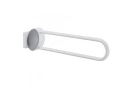 Opklapbare steungreep Arsis®, 770 mm, Wit Epoxy Aluminium, Mat verchroomdt bevestigingsrozetten, tube 38 x 25 mm