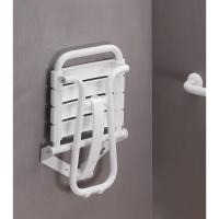Foldaway shower seat, 380 x 355 x 500 mm, White polypropylene seat and white epoxy-coated base, tube Ø 25 mm, height: 500 mm