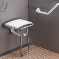 Foldaway shower seat, 380 x 355 x 500 mm, White polypropylene seat and grey epoxy-coated base, tube Ø 25 mm, height: 500 mm