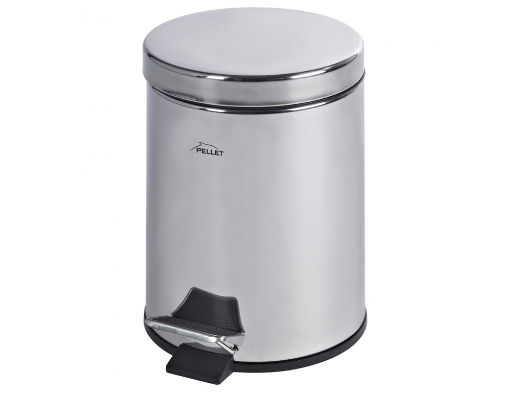 5 Litre Pedal Bin Bright Polished Stainless Steel