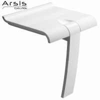 Inklapbare douchestoel Arsis, 442 x 450 x 500 mm, Wit ABS zetel en Wit Epoxy Aluminium onderstel, Ø 25 mm