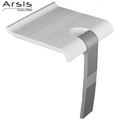 ARSIS shower seat, 442 x 450 x 500 mm, White ABS seat, Grey epoxy-coated base, Ø 25 mm
