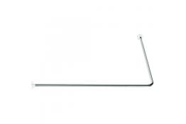 90° angled curtain rail, 1000 x 1000 mm, Chrome-plated steel tube
