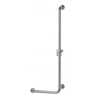 Barre de douche en L à droite, Laiton chromé, Ø 32 mm
