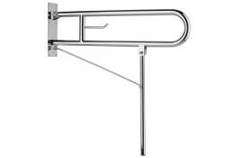 Barre relevable 800 mm avec béquille, Inox poli brillant, Ø 32 mm