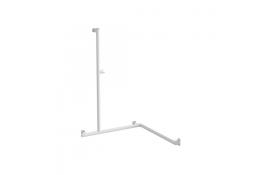 Barre de douche angle 2 murs Arsis®, aluminium époxy blanc