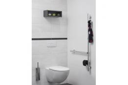Barre d'appui en L multifonctions pour WC
