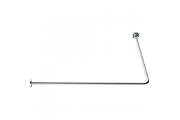 90° angled curtain rail, 800 x 800 mm, Chrome and nickel-plated Brass, tube Ø 16 mm