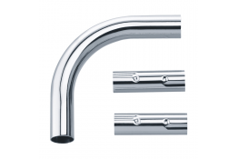 Elbow connector + 2 connecting sleeves for curtain rails, 100 x 100 mm, Chrome and nickel-plated Brass, tube Ø 20 mm