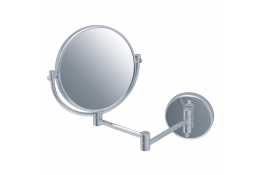 Specchio d'ingrandimento con supporto articolato, 310 x 370 mm, Ø 200 mm, Ottone Nichelato cromato